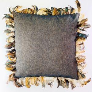 Bronzey Down Filled Feather Trim Throw Pillow